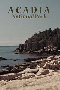 "Acadia National Park - ""Vintage"" Travel Poster"